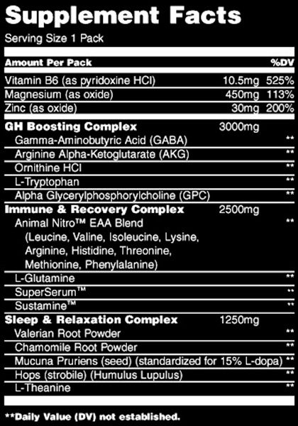 Animal pm universal nutrition supplement facts-30 packs