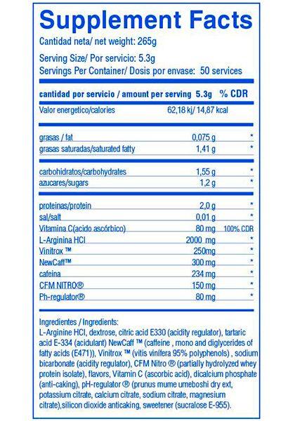 Big turrbo informacion nutricional ingredientes oxido nitrico