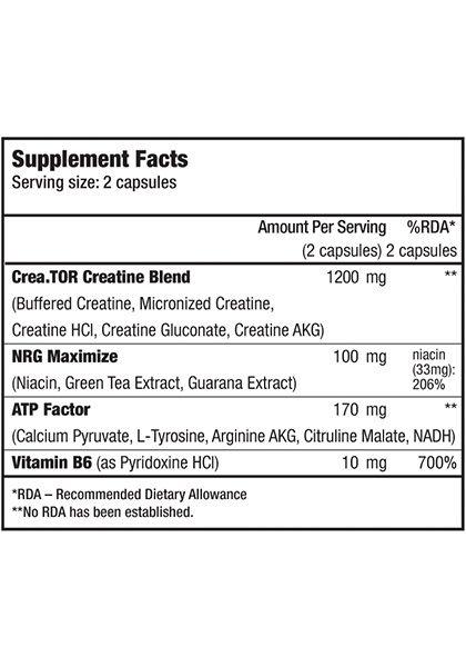 Crea.tor biotech usa supplement facts creatina avanzada