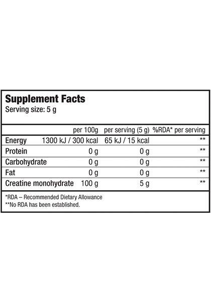 creatina monohidrato micronizada 100% biotech usa supplement facts 500 gr
