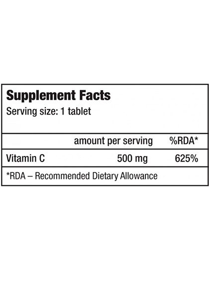 Vitamina c 500 mg biotech usa supplement facts 120 tabletas masticables