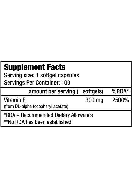 Vitamina e biotech usa supplement facts 100 softgels