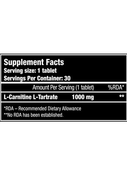L-carnitina 1000 mg biotech usa supplement facts 100 tablets
