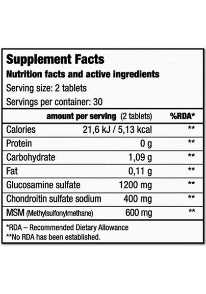 JOINT & CARTILAGE BIOTECH USA 60 Tabletas Join cartilage biotech usa supplement facts 4