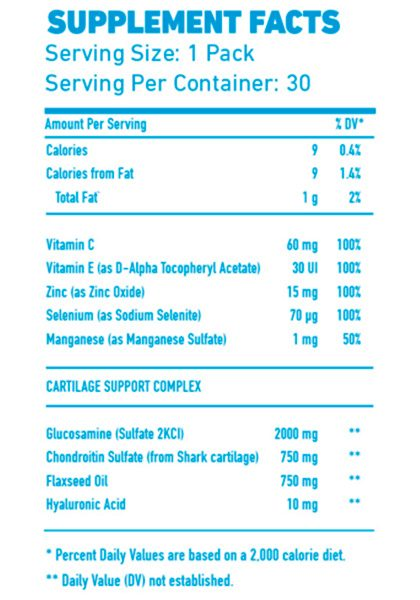 Arthro pak pro mex nutrition supplement facts