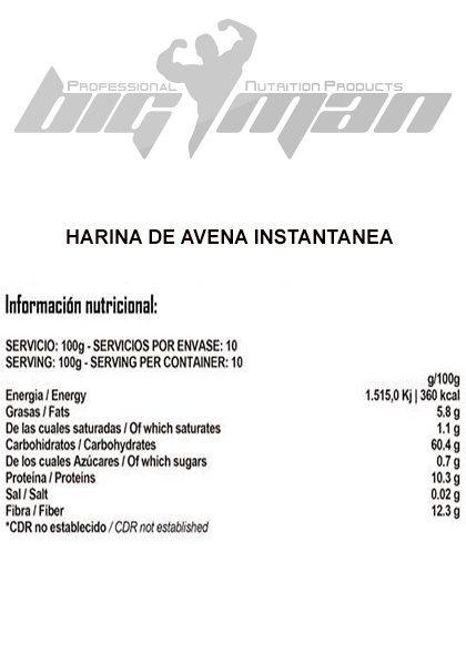 Harina de avena instantanea bigman informacion nutricional 1kg