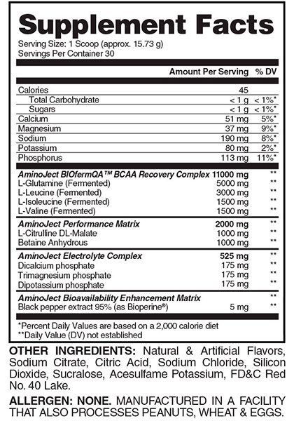 Aminoject evogen supplement facts Aminoacidos fermentados AMINOJECT EVOGEN (472 gr) 3
